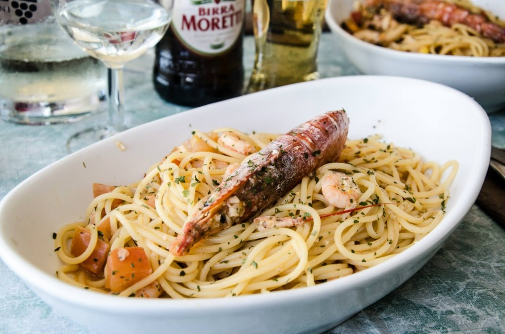 Urlaub Campingurlaub Italien Cervo Spaghetti mit Meeresfrüchten