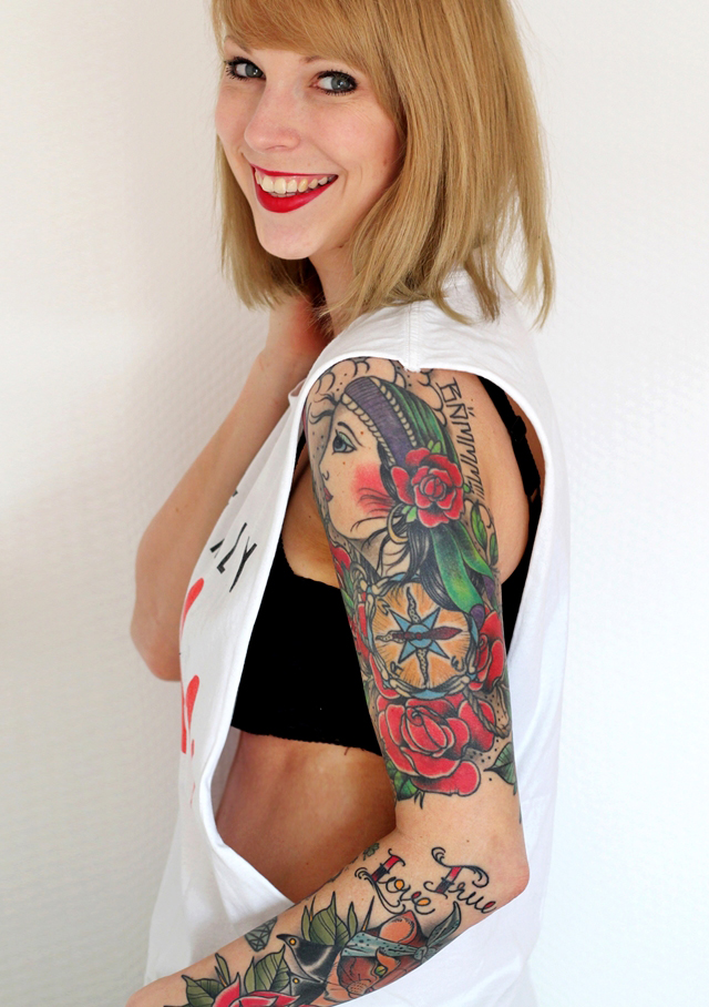 Girls with Tattoos Sleeve Oldschool Fashionbloggerin Karlsruhe Gypsy Ink Katze Cat