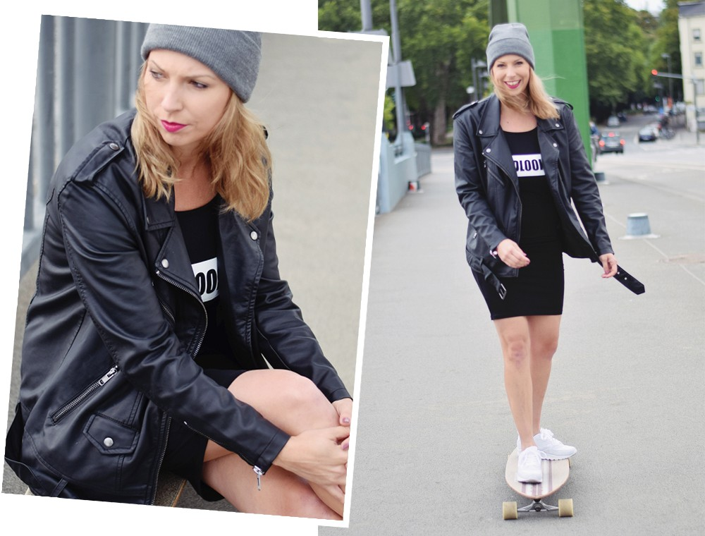 Outfit Fashionblogger Frankfurt Lederjacke Midikleid Sneaker 18