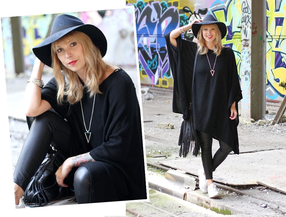 Outfit Poncho Hut C&A Lederhose Only Sneaker Deichmann Fransentasche Pieces