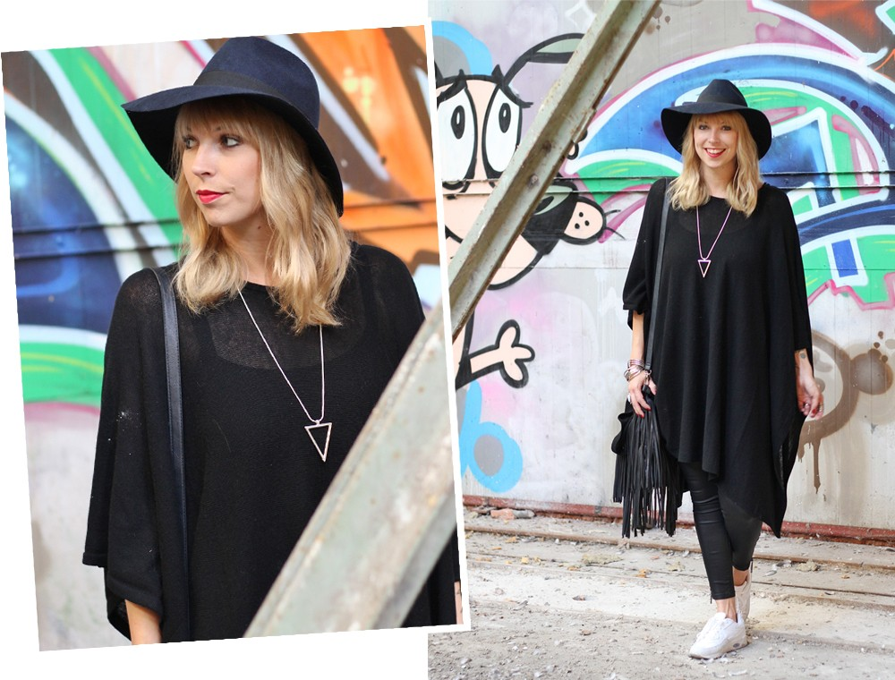 Outfit Poncho Hut C&A Lederhose Only Sneaker Deichmann Fransentasche Pieces 2