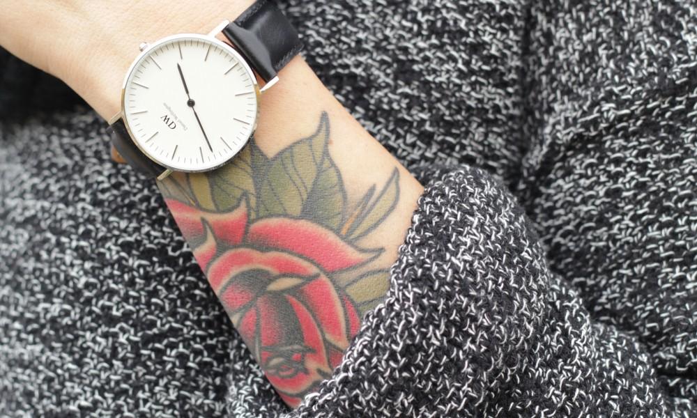 Outfit Fashionbloggerin Karlsruhe Jeansrock Knopfleiste Overknees Hut Strickpulli 1 (12)