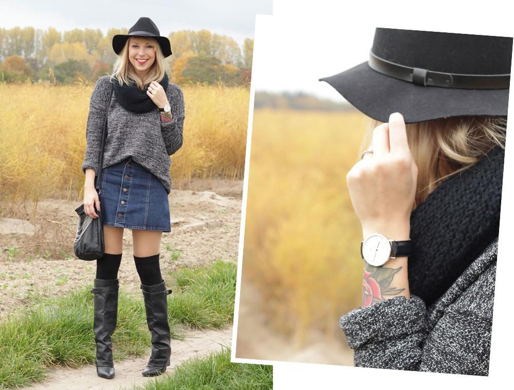 Outfit Fashionbloggerin Karlsruhe Jeansrock Knopfleiste Overknees Hut Strickpulli 1 (17)