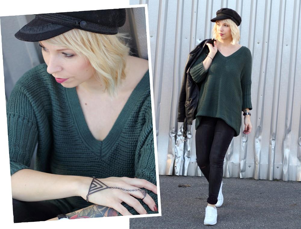 Outfit Vero Moda Strickpullover Jeans weisse Sneaker Mütze 2