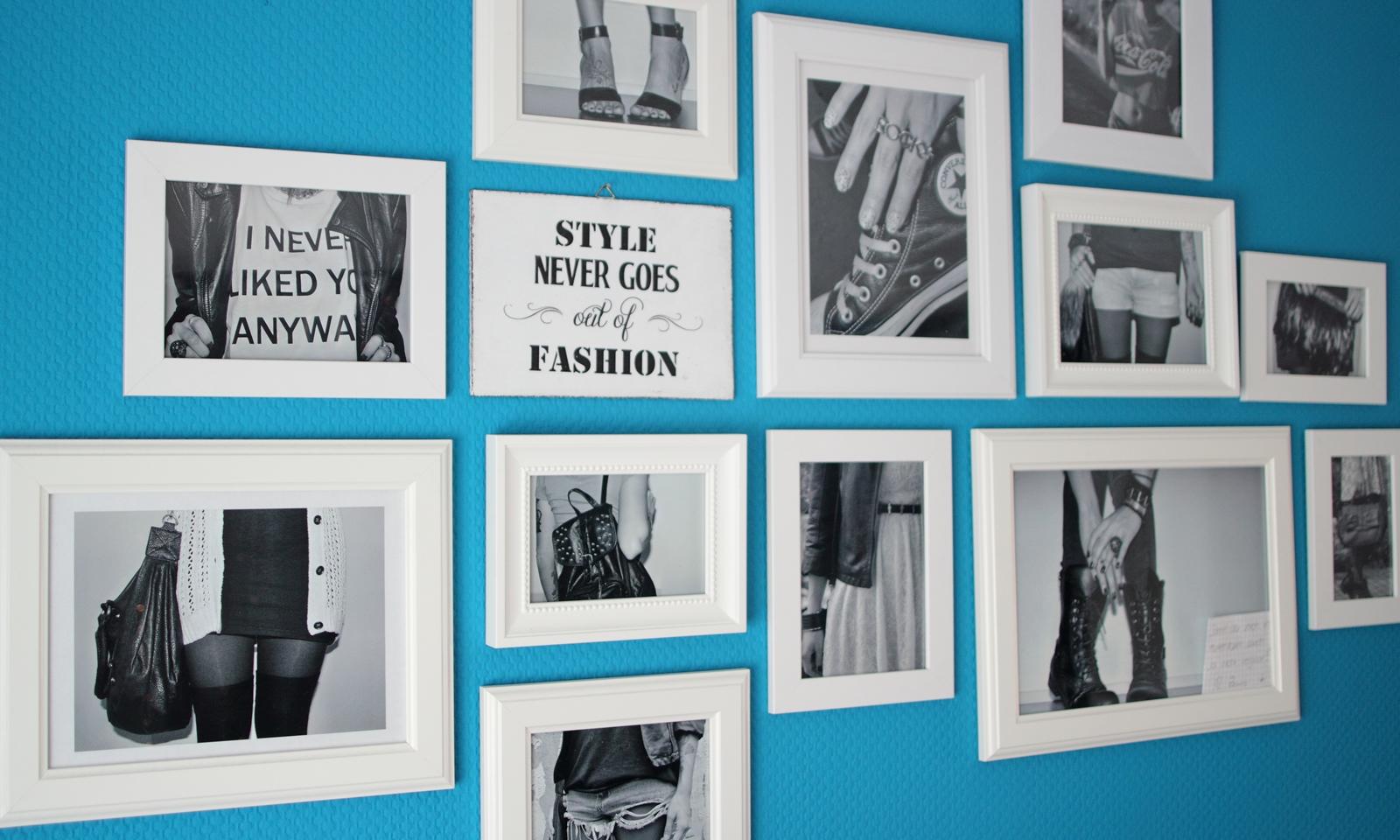 schlafzimmer bilderwand laue wand fotos schwarz weiss. Black Bedroom Furniture Sets. Home Design Ideas