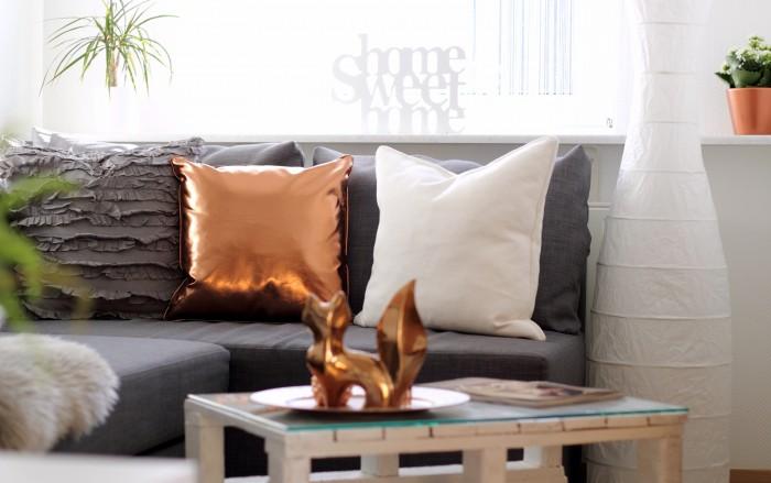 Wohnzimmer Deko Couch Ikea Kupfer Weiss Grau Fuchs Palettentisch 2