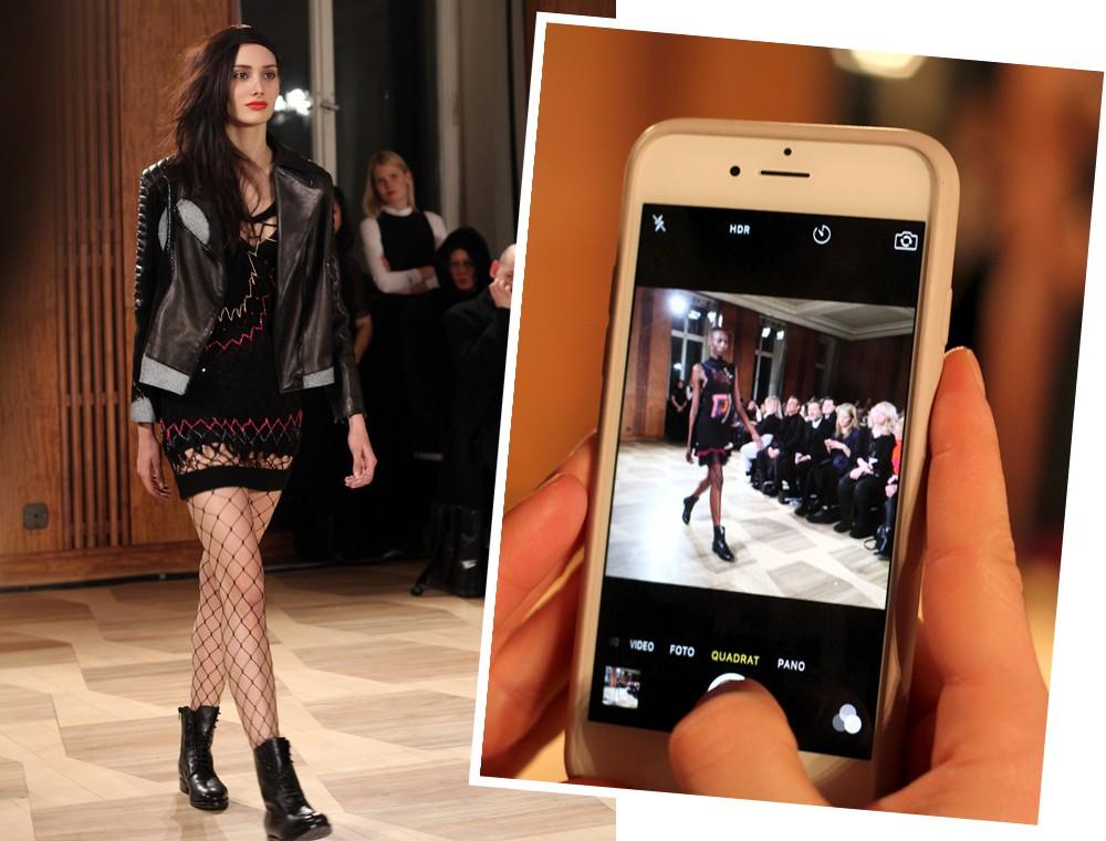 Augustin Teboul Fashion Week Januar 2016 Runway Kleid Netz Ledrjacke