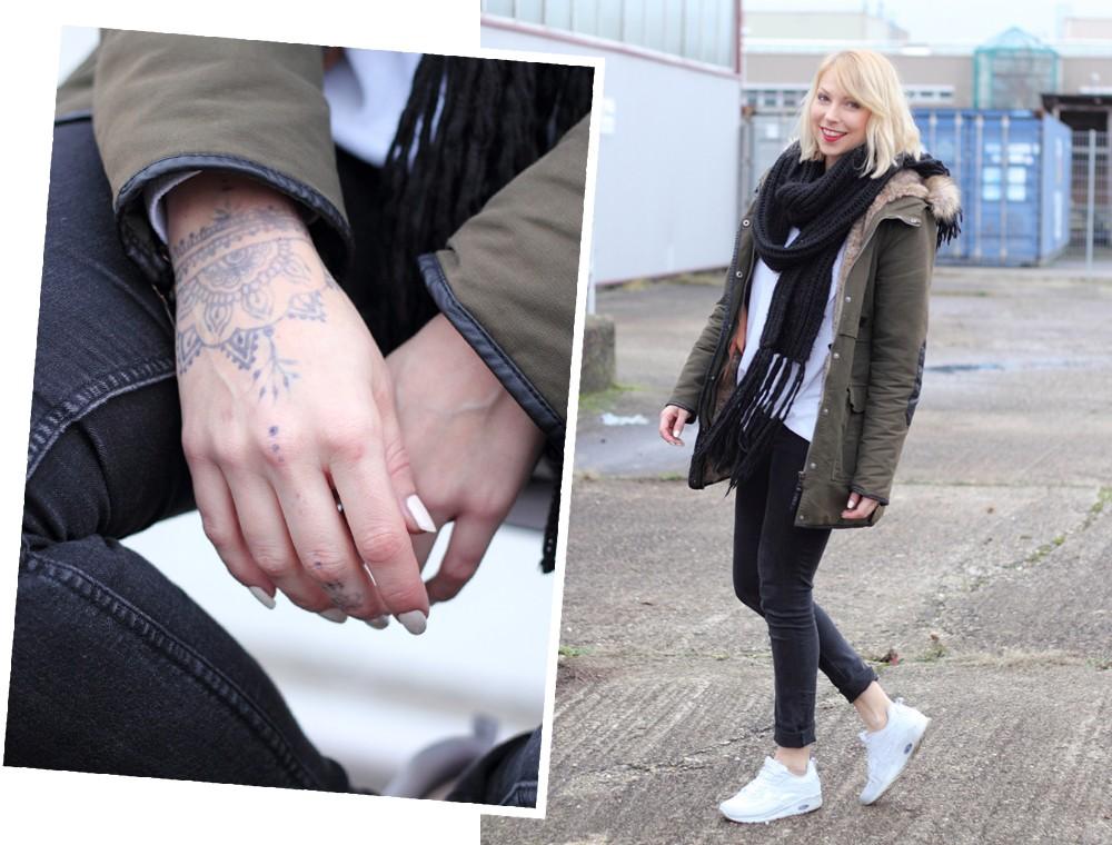 Fashionbloggeri Karlsruhe Outfit Parka Zara Sneaker Deichmann Jeans Sweater Schal 2