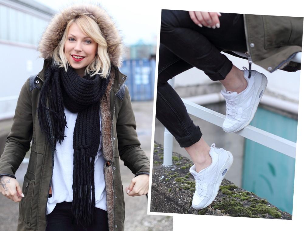 Fashionbloggeri Karlsruhe Outfit Parka Zara Sneaker Deichmann Jeans Sweater Schal 4