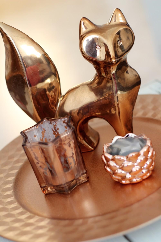 Wohnzimmer Deko Kupfer Fuchs Teller Teelichter