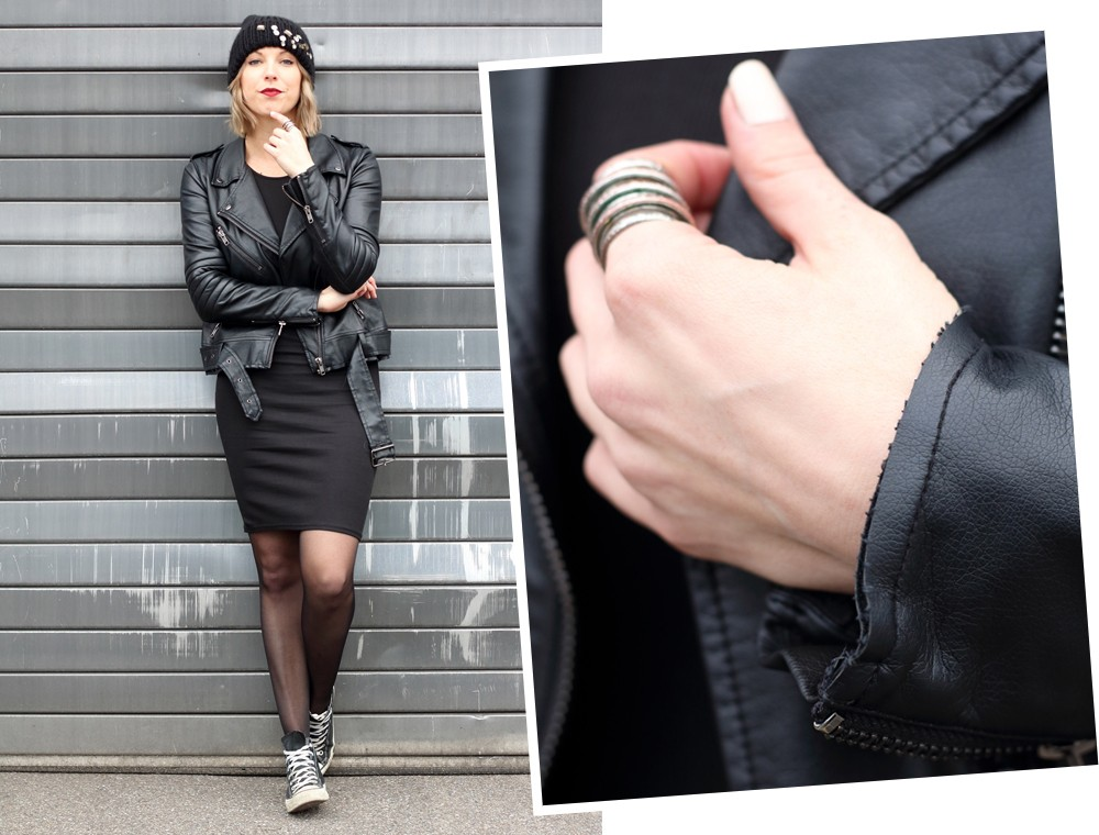 Outfit All in black Midikleid Lederjacke Chucks Beanie 1