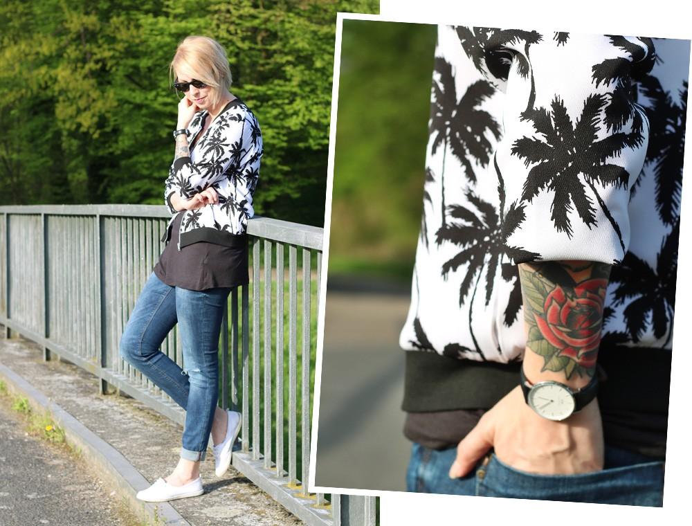 Fashionblogger Outfit Blousonjacke Palmen Jeans Sneaker Ray Ban New Wayfarer (16)