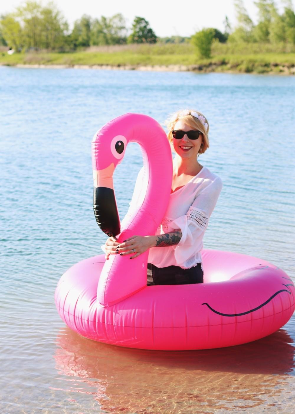 Flamingoschwimmring Donutstrandtuch Accessoires See Strand Radbag (13)