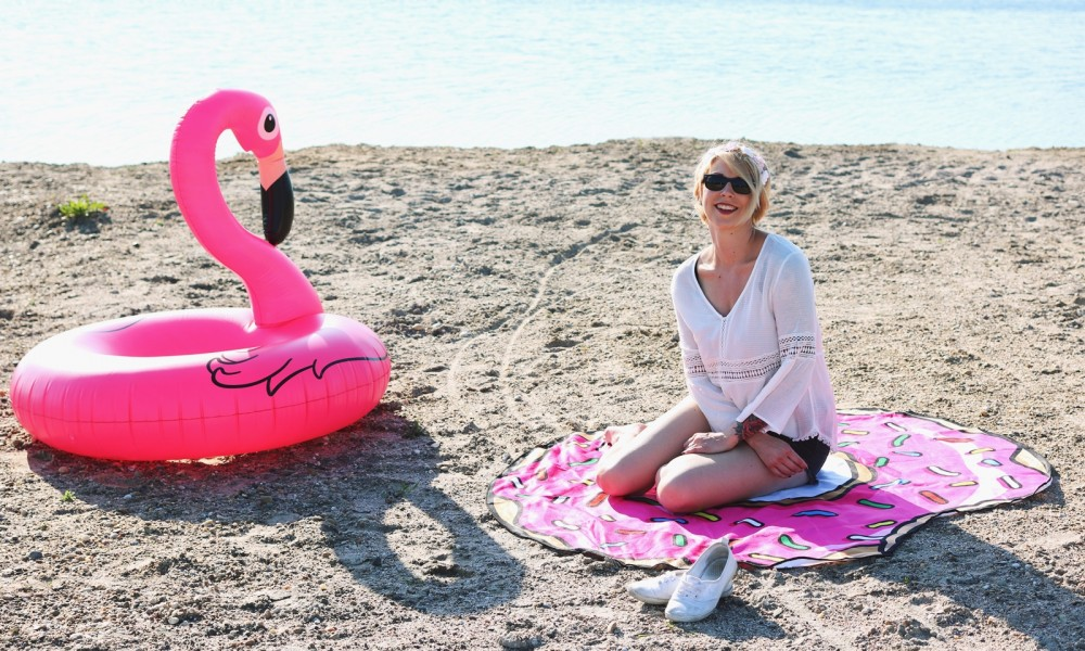 Flamingoschwimmring Donutstrandtuch Accessoires See Strand Radbag (5)