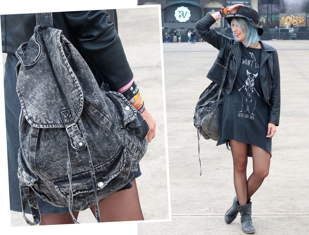 Festivaloutfit Parookaville Bikerlook Hut blaue Haare Fashionblogger (2)