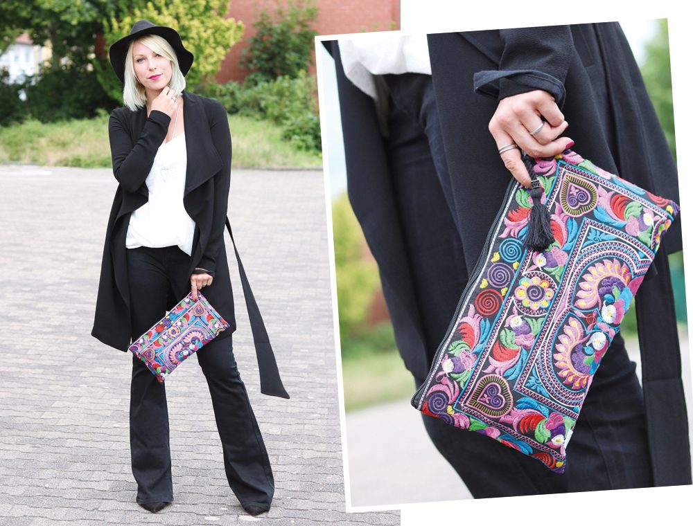 Fashionblogger Outfit Flared Jeans Zara Mantel Only Ethnoclutch Hut (10)