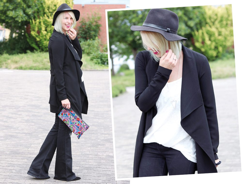 Fashionblogger Outfit Flared Jeans Zara Mantel Only Ethnoclutch Hut (8)