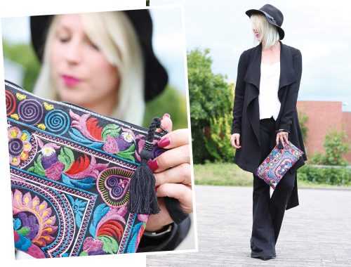 Fashionblogger Outfit Flared Jeans Zara Mantel Only Ethnoclutch Hut (9)