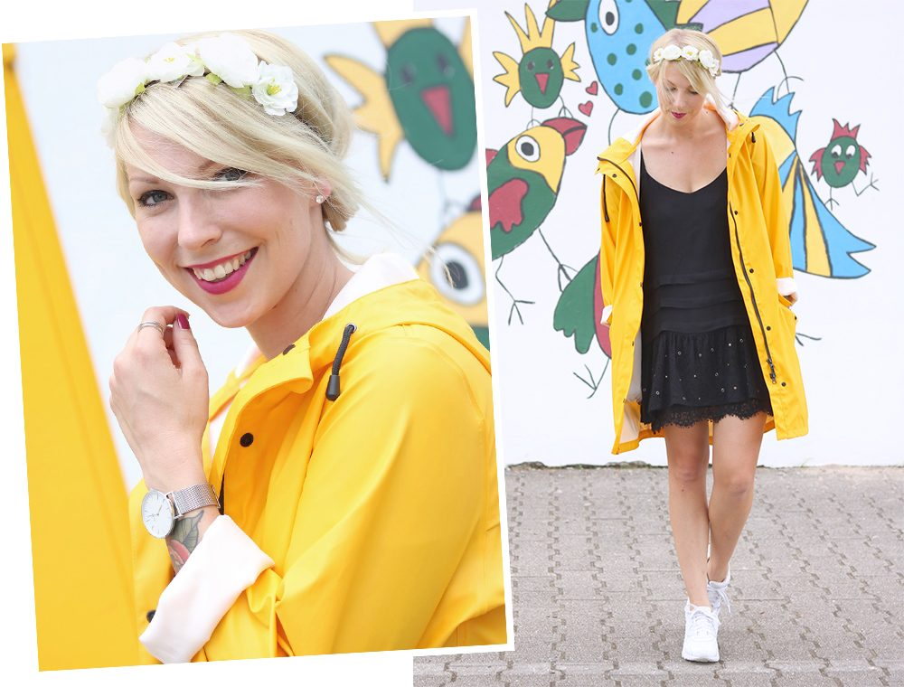 Fashionblogger Outfit Regenmantel gelb Vero Moda Kleid Mango Nike Air Max weiss (14)