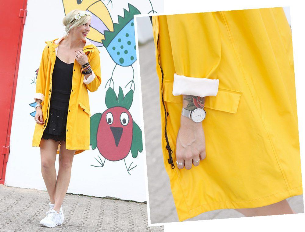 Fashionblogger Outfit Regenmantel gelb Vero Moda Kleid Mango Nike Air Max weiss (16)