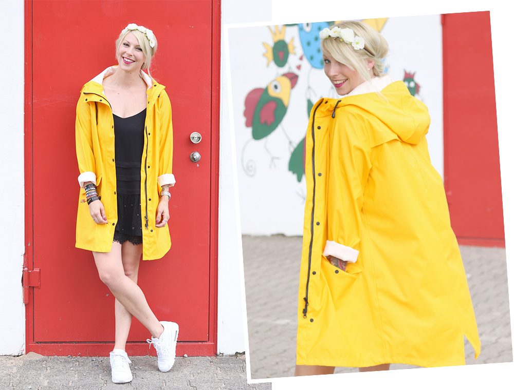 Fashionblogger Outfit Regenmantel gelb Vero Moda Kleid Mango Nike Air Max weiss (17)