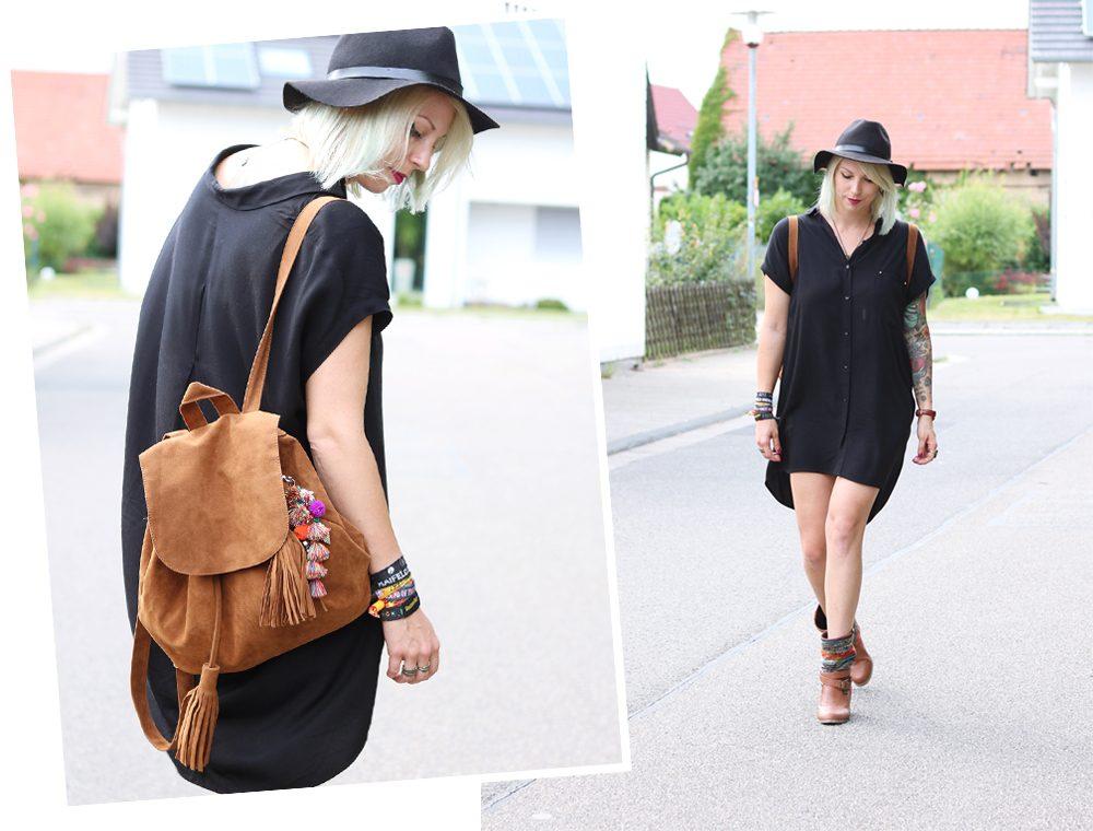 Fashionbloggerin Outfit Blusenkleid Zara Ethnoboots Fransenrucksack Justfab (1)