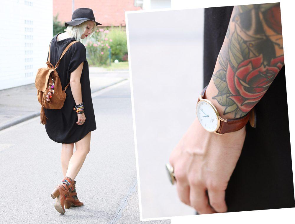 Fashionbloggerin Outfit Blusenkleid Zara Ethnoboots Fransenrucksack Justfab (13)