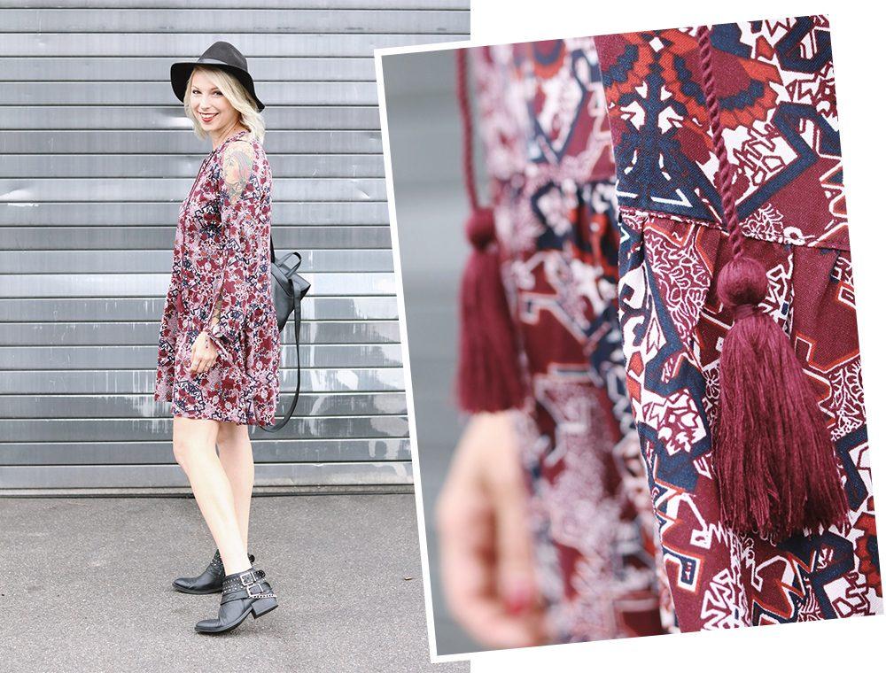Fashionblogger Outfit Boho Kleid weinrot Bikerboots Rucksack Hut Ethno (29)