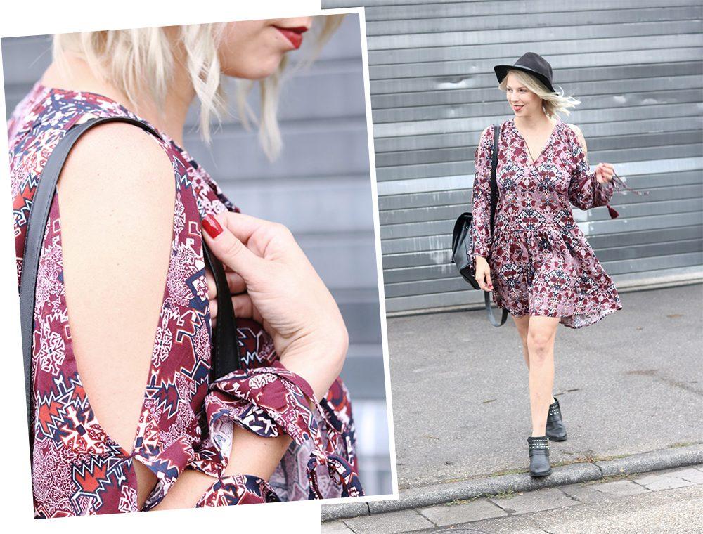 Fashionblogger Outfit Boho Kleid weinrot Bikerboots Rucksack Hut Ethno (31)