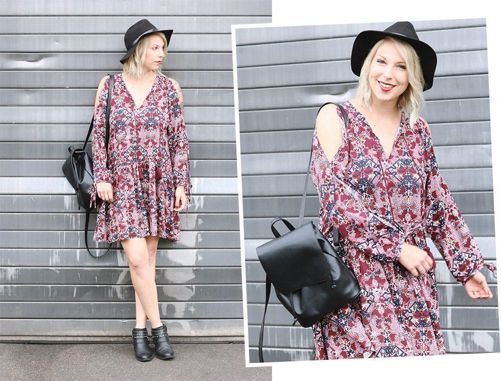 Fashionblogger Outfit Boho Kleid weinrot Bikerboots Rucksack Hut Ethno (32)