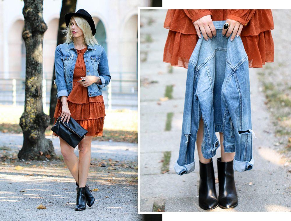 outfit-kleid-volants-vero-moda-rostrot-jeansjacke-stiefeletten-hut-9