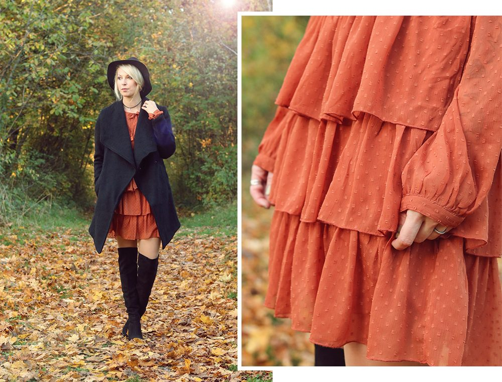 modeblogger-karlsruhe-outfit-herbst-kleid-vero-moda-rostrot-schwarzer-mantel-overknees-hut-1