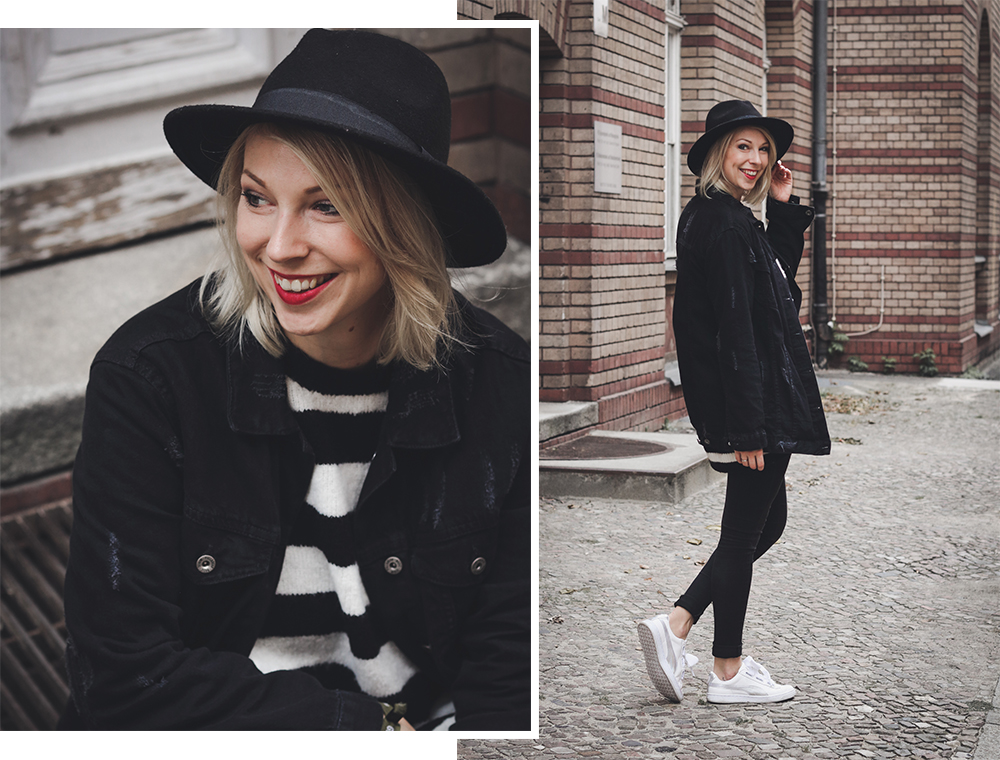 oufit strickpullover mit streifen zara skinniyjeans schwarze jeansjacke oversize puma basket. Black Bedroom Furniture Sets. Home Design Ideas