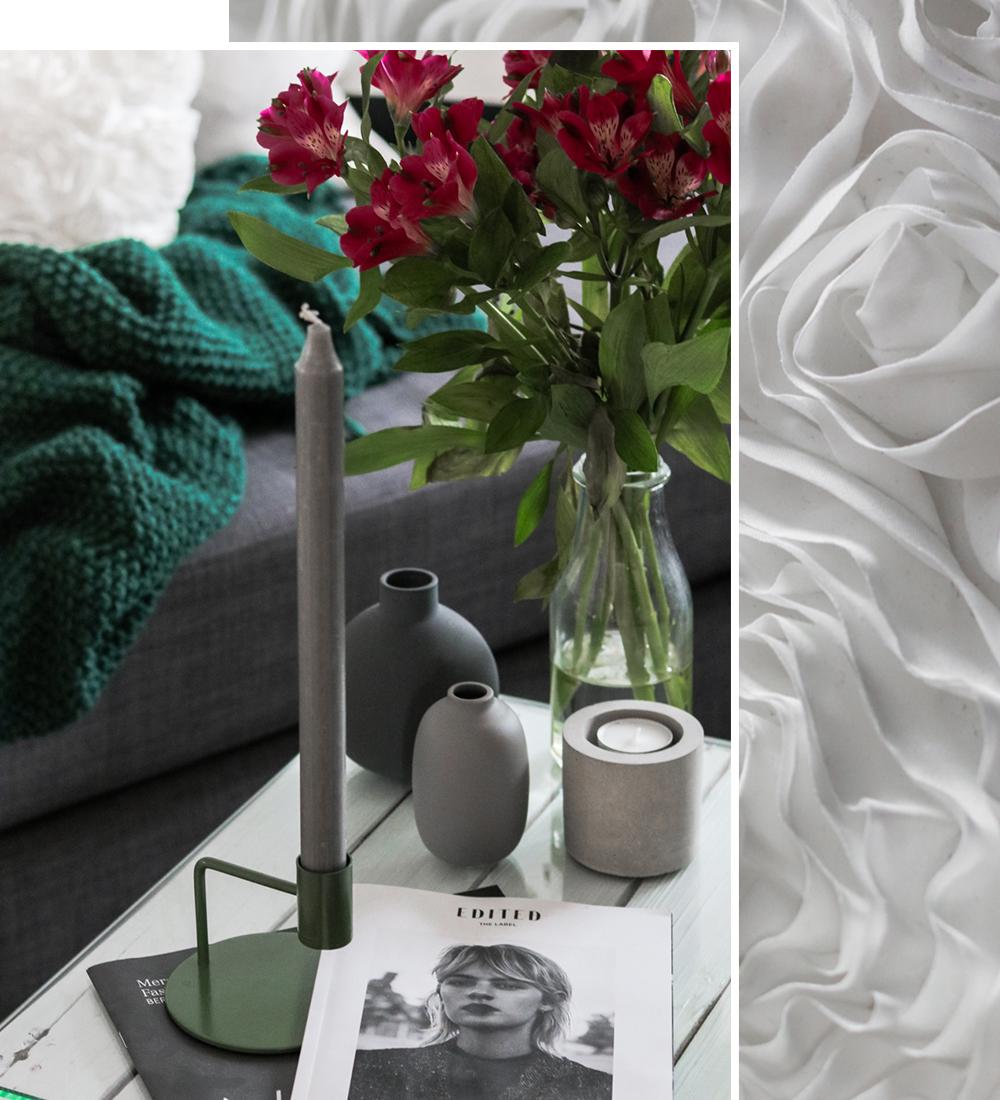wohnzimmer einrichtung lila gruen weiss deko vasen grau. Black Bedroom Furniture Sets. Home Design Ideas
