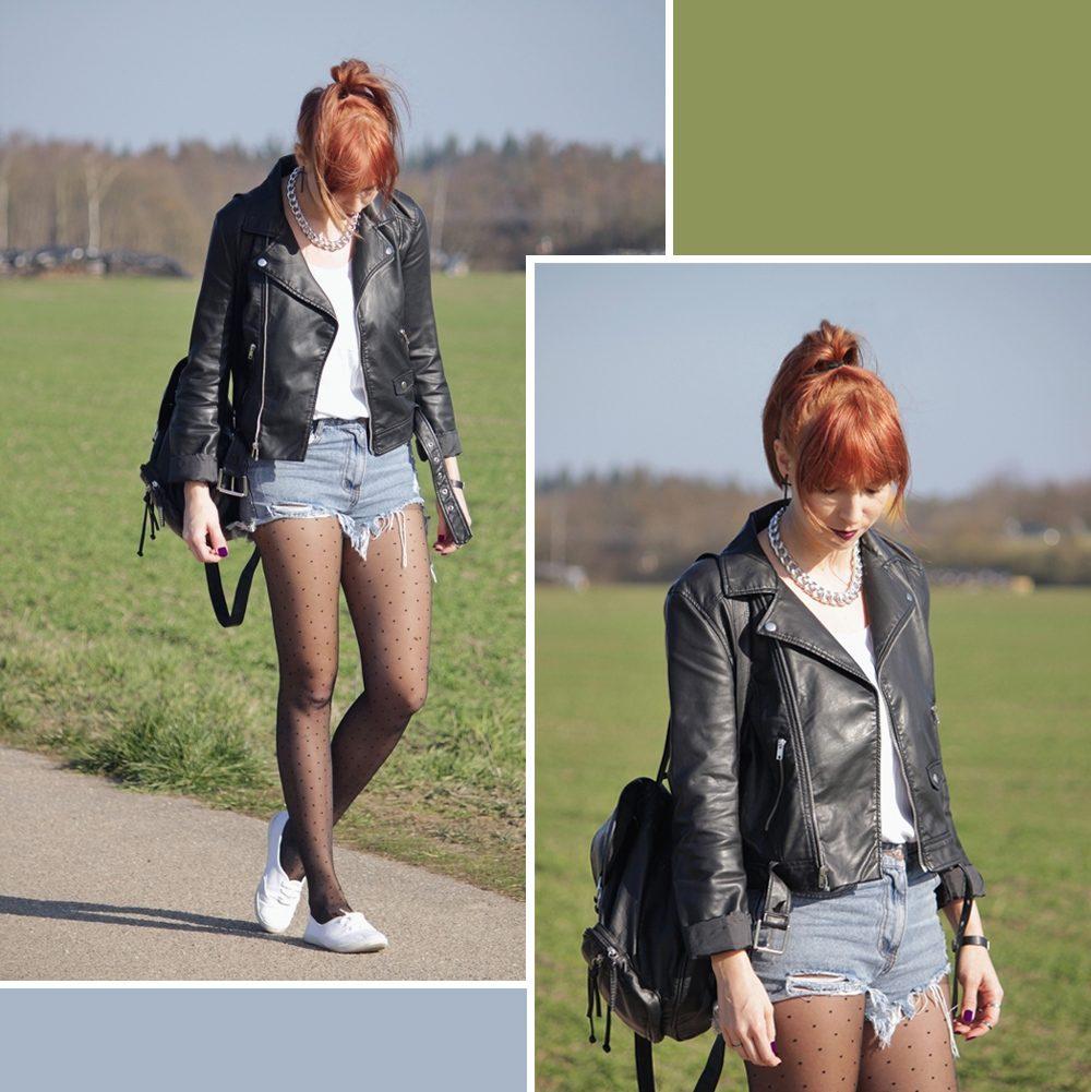 Outfit: High Waist Shorts mit gepunkteten Strumpfhosen