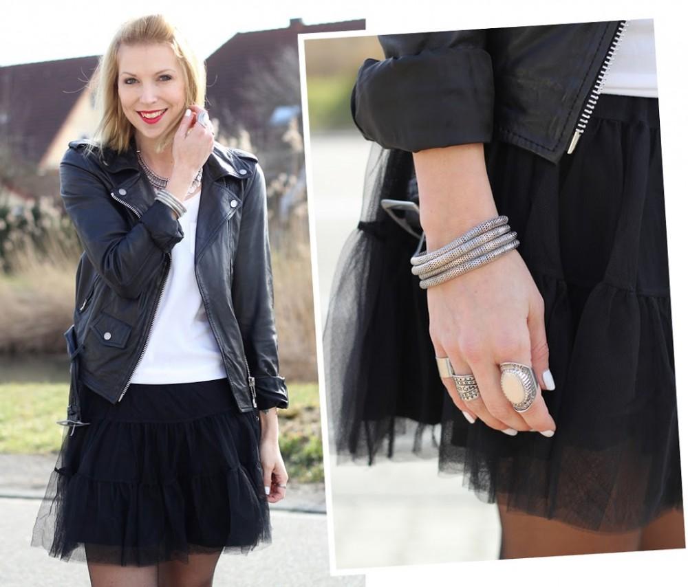 Fashionblogger Karlsruhe Outfit Tüllrock Lederjacke Chucks Ethnokette 1 (10)