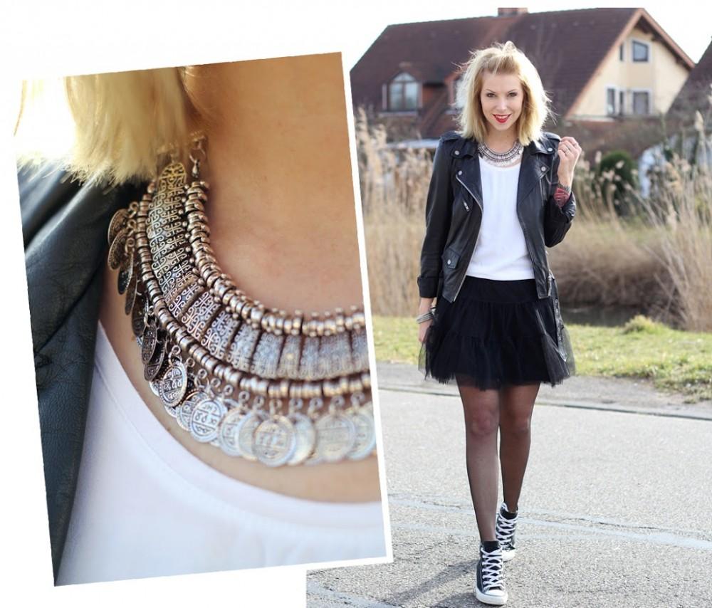 Fashionblogger Karlsruhe Outfit Tüllrock Lederjacke Chucks Ethnokette 1 (9)