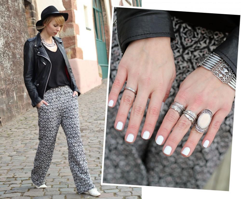 Outfit Fashionbloggerin Karlsruhe Palazzphose Lederjacke Hut 2