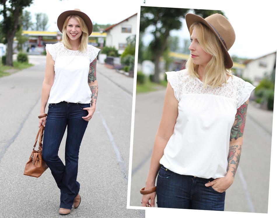 Bootcut Jeans Spitzenshirt 1