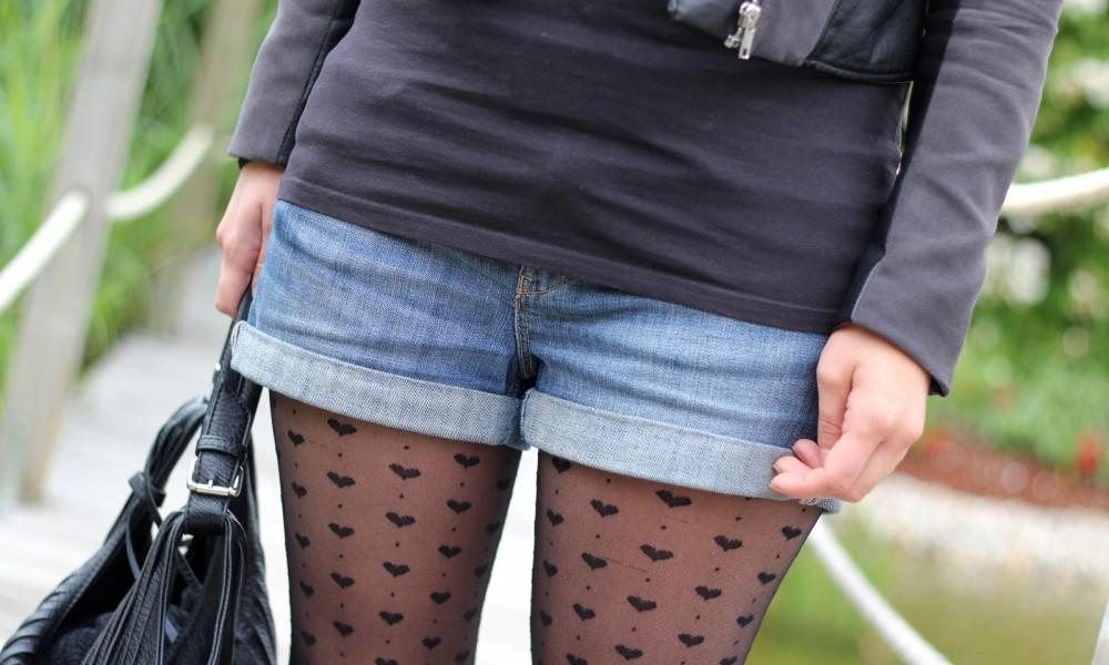 OOTD Shorts Lederjacke Herzstrumpfhosen 3