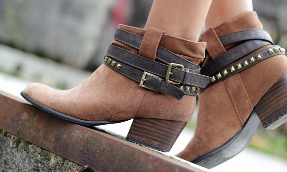 Cowboy Ankleboots Primark Outfit braun Nieten