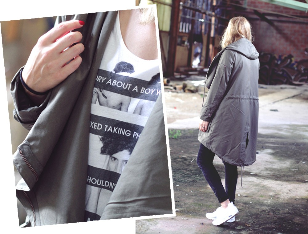 Outfit Asos Parka Deichmann Sneaker weiss Cut Out Jeans Collage 2