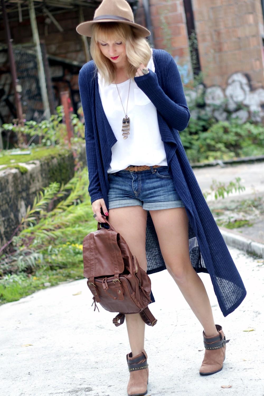 Outfit blauer Loncardigan Jeansshorts Hut 7
