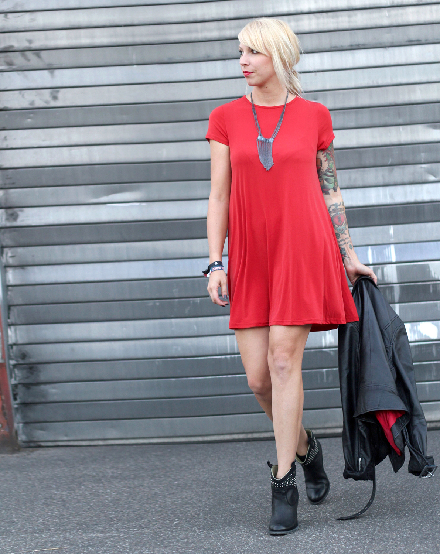 Genial Stiefeletten Zum Kleid Beste Wahl Outfit Rotes Lederjacke Ootd 6i2