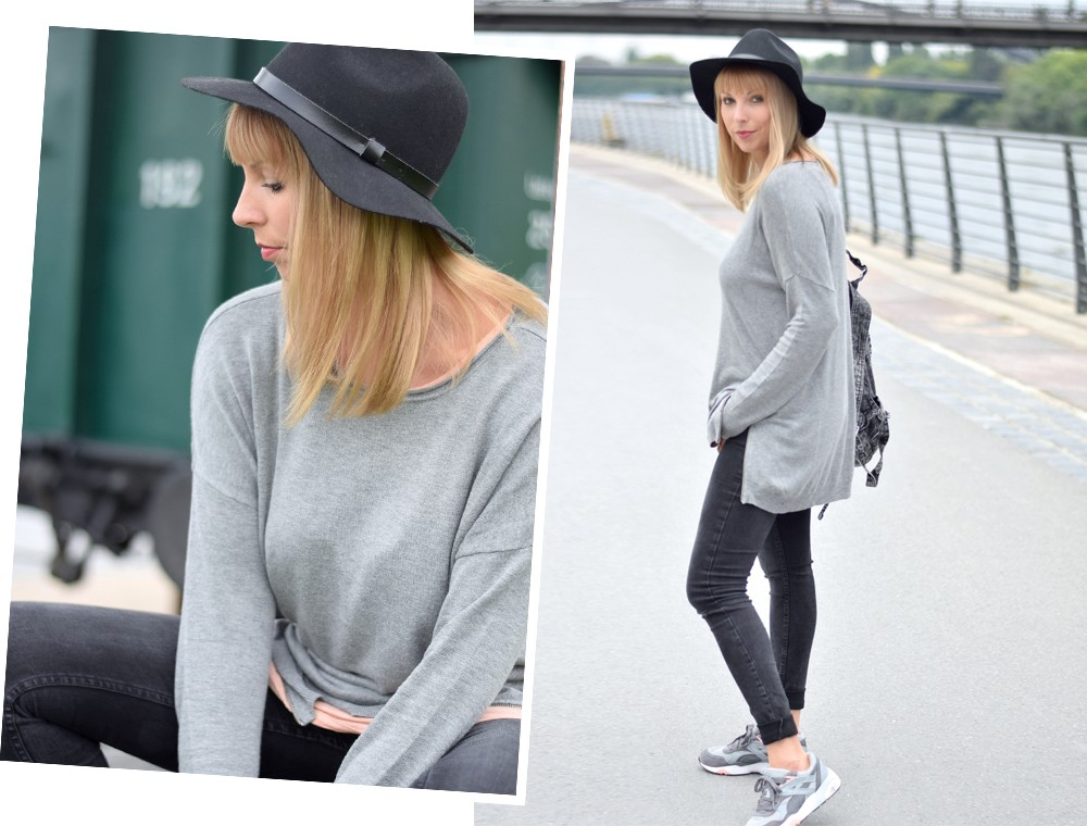 Puma Vashtie Outfit grau Jeans Sweater 1