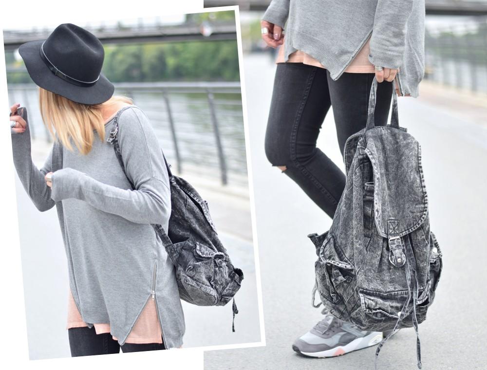 Puma Vashtie Outfit grau Jeans Sweater 2