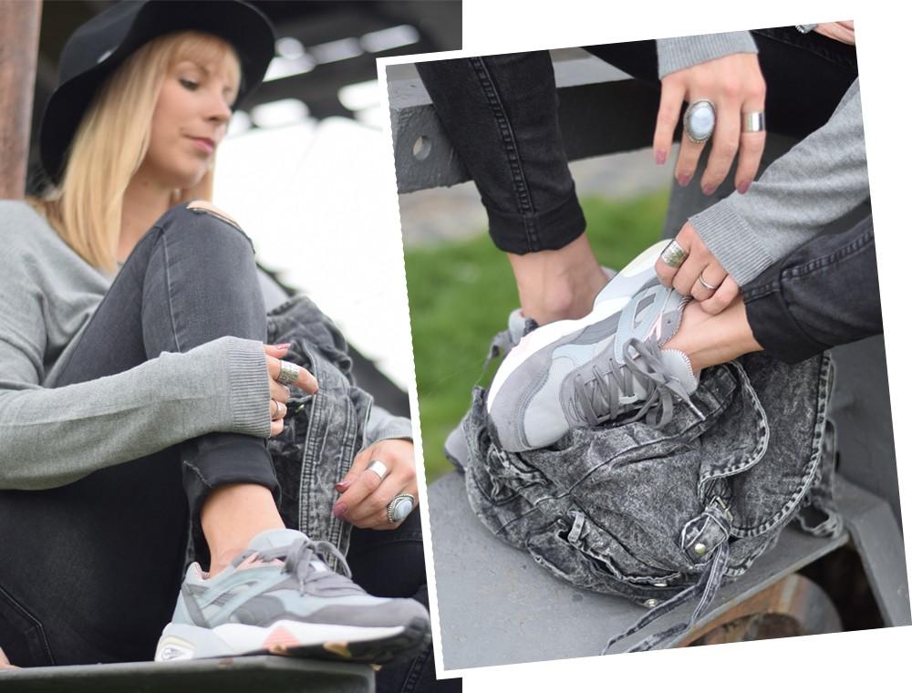Puma Vashtie Outfit grau Jeans Sweater 3