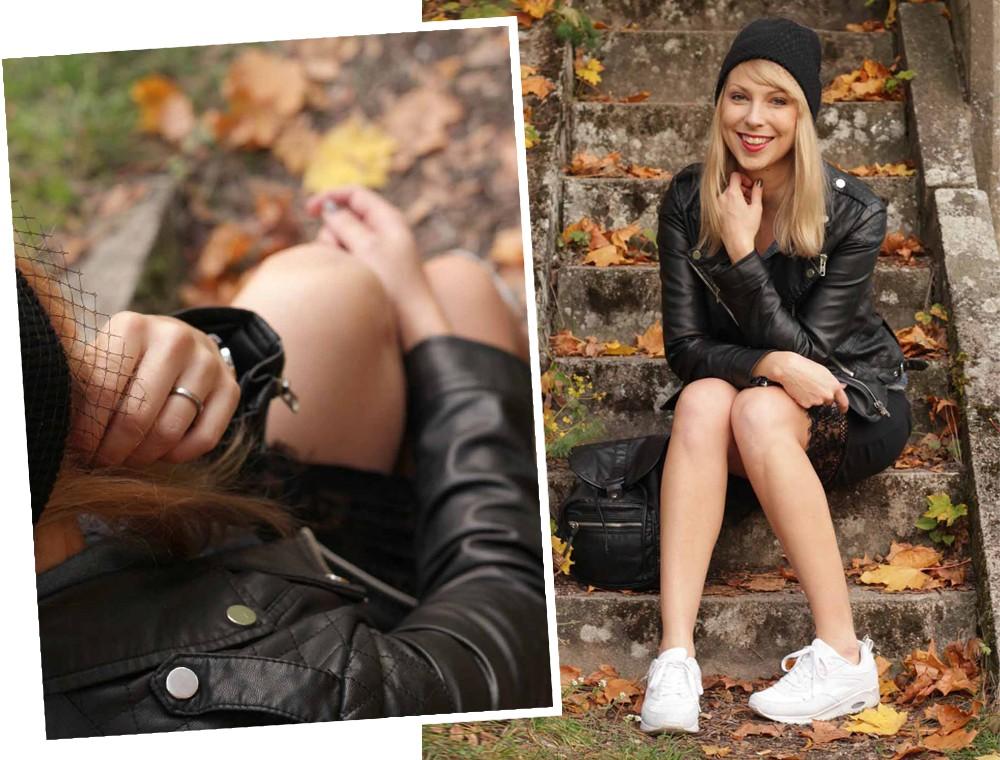 Fashionblogger Karlsruhe Outfit Bleistiftrock Jeanshemd Lederjacke Meshbeanie Sneaker 12