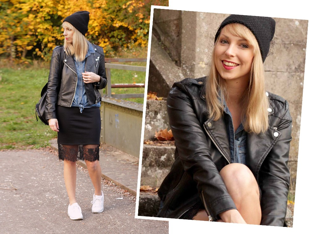Fashionblogger Karlsruhe Outfit Bleistiftrock Jeanshemd Lederjacke Meshbeanie Sneaker 14