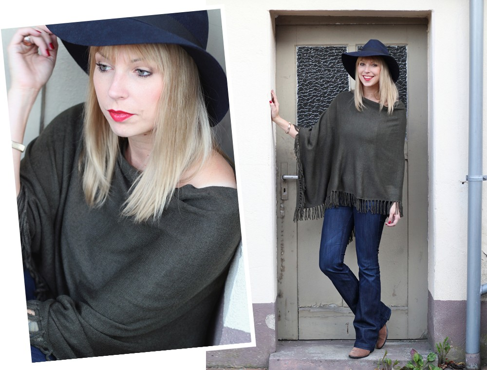 Outfit New Look Poncho Flared Jeans Hut 2
